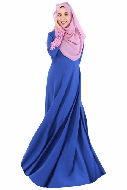 Muslim Womens Abaya Kaftan Dress Long Sleeve O-Neck Floor Length Decorated With Lace Fashion hijab jilbab kaftan