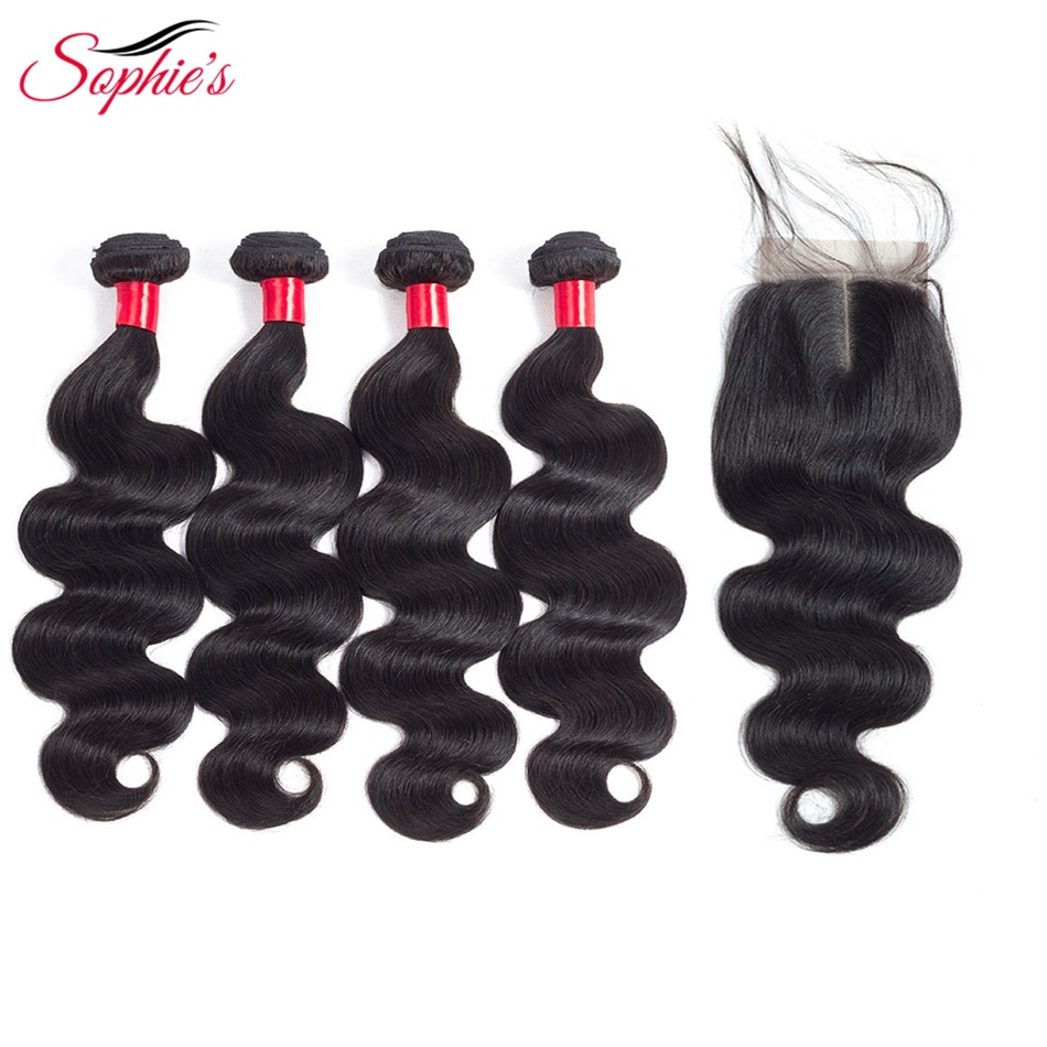 Sophie's Human Hair Bundles With Closure 4 Bundles Body Wave Malaysian Human Non-Remy Hair Weaves Natural Color Hair Extensions