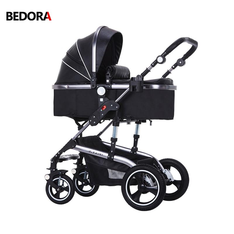 Wózek składany Bedora Wózek skórzany Wózek spacerowy o wysokich - Aktywność i sprzęt dla dzieci - Zdjęcie 1