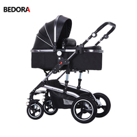 Bedora folding stroller Leather stroller High landscape strollers Multi gear adjustment Upgrade brake baby cart four seasons