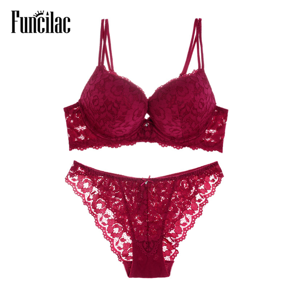 FUNCILAC Lace Embroidery   Bra     Set   Underwear Sexy Push Up Brassiere Intimates With Transparent Lingerie   Set