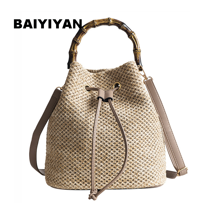 Drawstring Women's Straw Bucket Bag Summer Woven Shoulder Bags Shopping Purse Handbag Straw Handbags Travel Bag For Vacation