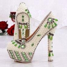 Newest Style Stunning Rhinestone Heels Rhinestone Wedding Shoes Crystal bride wedding pumps dress pearl pregnant Pumps Shoes