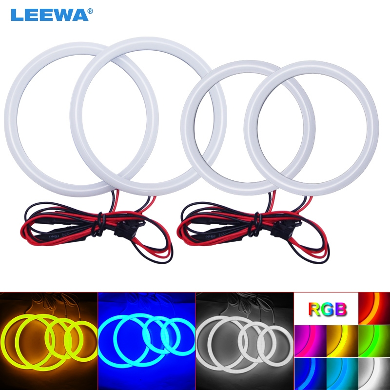 LEEWA 2X90mm 2X106mm Car Auto Halo Rings Cotton Lights SMD LED Angel Eyes for BYD F6 Car Styling White/Blue/Yellow/RGB #CA1244-in Car Light Accessories from Automobiles & Motorcycles    1