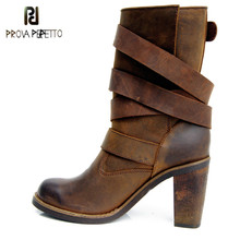 Prova Perfetto Europe Retro Real Leather Mid Heel Woman Boots Cow Leather Naked Martin Boots Buckle Strap Black Knight Boots