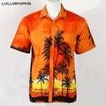 Camisa havaiana Homens Placa Praia Casual Camisas de Manga Curta Novo 2017 Masculino Camisas Aloha Camisas Frete Grátis