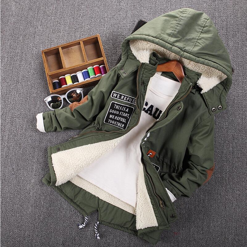 Children 39 s clothing male child wadded jacket autumn and winter medium long 2017 child plus velvet thickening outerwear baby top in Down amp Parkas from Mother amp Kids