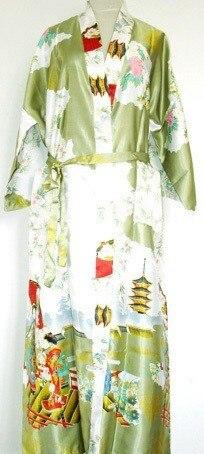Горячие Продажи Зеленый Новая Весна Китайских женщин Одеяние Шелковый Район Кимоно Mujer Pijama Ванна Платье Ночная Рубашка Размер Sml XL XXL XXXL Zhs02C