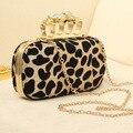 2015 Leopardo do vintage Crânio Knuckle Anéis Bolsa Clutch Bag Evening Bolsa Com ombro Cadeia