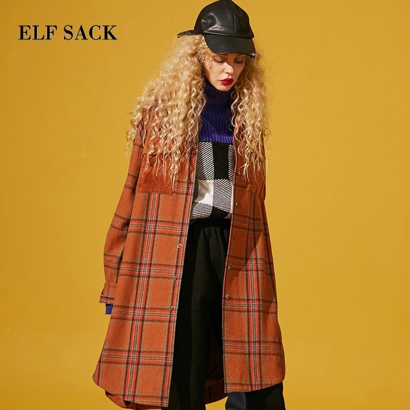 ELF SACK Winter New Woman Wool Coat Casual Turn down Collar Women Wool Blends Full Plaid