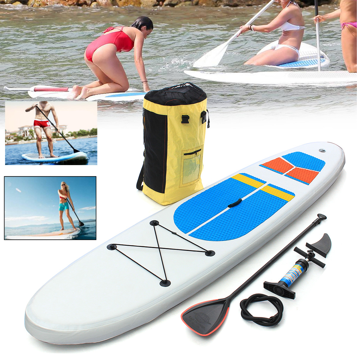 Gofun 305 * 81 * 10cm Stand Up Paddle Surfboard Inflatable Board SUP Set Wave Rider Blue inflatable surf board sup paddle boat 2016 big cheaper 10 10 vapor surfing stand up paddle board sup board paddle board surf board sup kayak inflatable boat