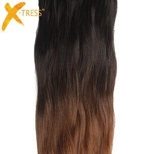 Image 3 - Tissages synthétiques doux ondulés X TRESS naturels, mèches noires et brunes ombré, lot de 6 Extensions capillaires à coudre, 14 à 20 pouces pour tête complète