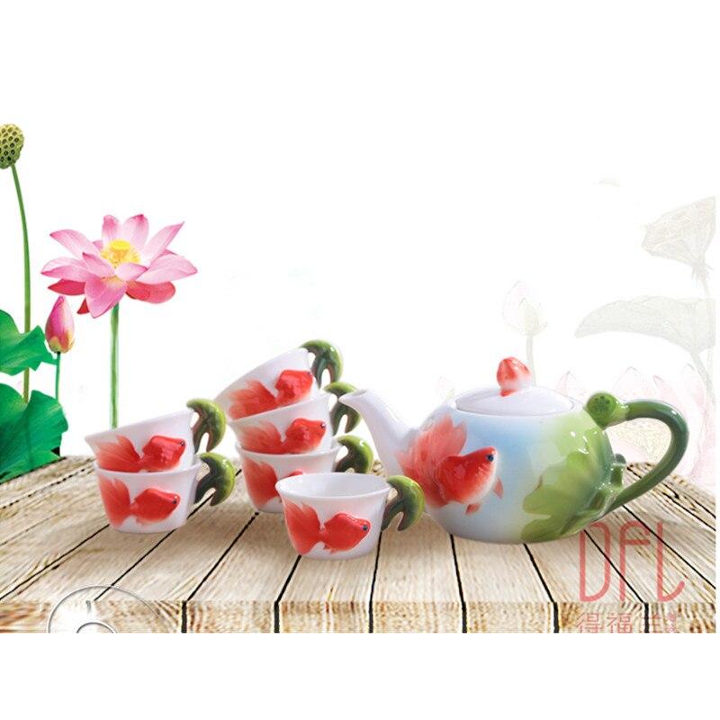 1POT 6CUPS New 3D Color Enamel Goldfish Kung Fu Tea Set Ceramic Pot Mug Creative Kettle