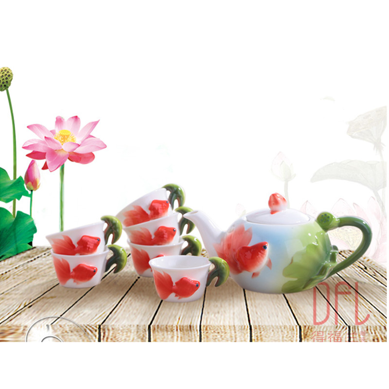 1POT+6CUPS New 3D Color Enamel Goldfish Kung Fu Tea Set Ceramic Pot Mug Creative Kettle Cup1POT+6CUPS New 3D Color Enamel Goldfish Kung Fu Tea Set Ceramic Pot Mug Creative Kettle Cup