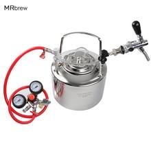 6L Cornelius style Stainless steel beer keg & Adjuatable beer faucet & Co2 Beer Regulator kit Home Beer brewing