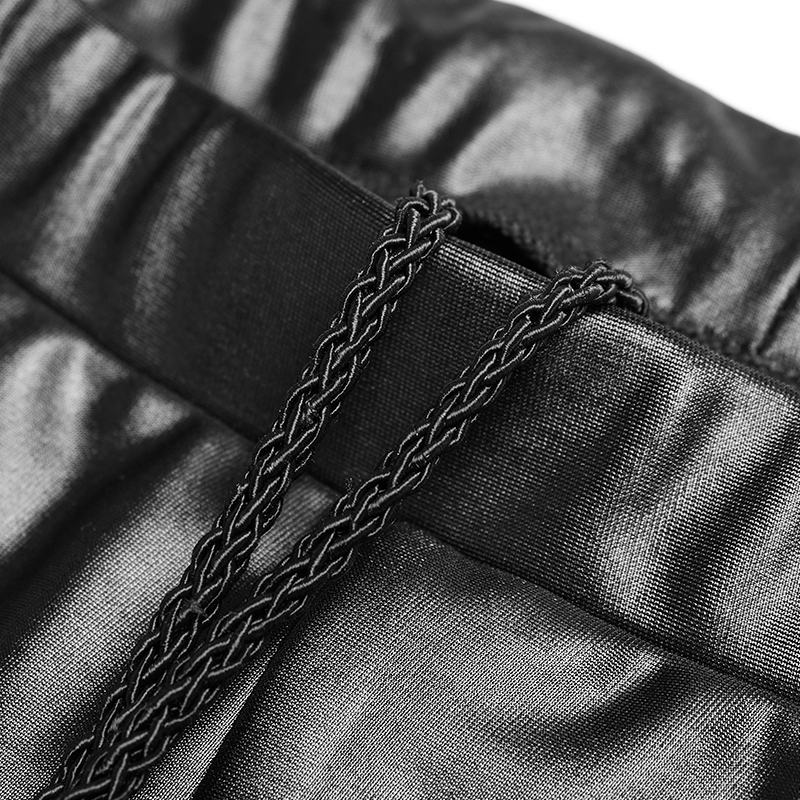PUNK RAVE Steampunk Gothic Women PU Leather Pants Hollow Out Black Sexy Pants Club Party Women Lace up Skinny Trousers - 5