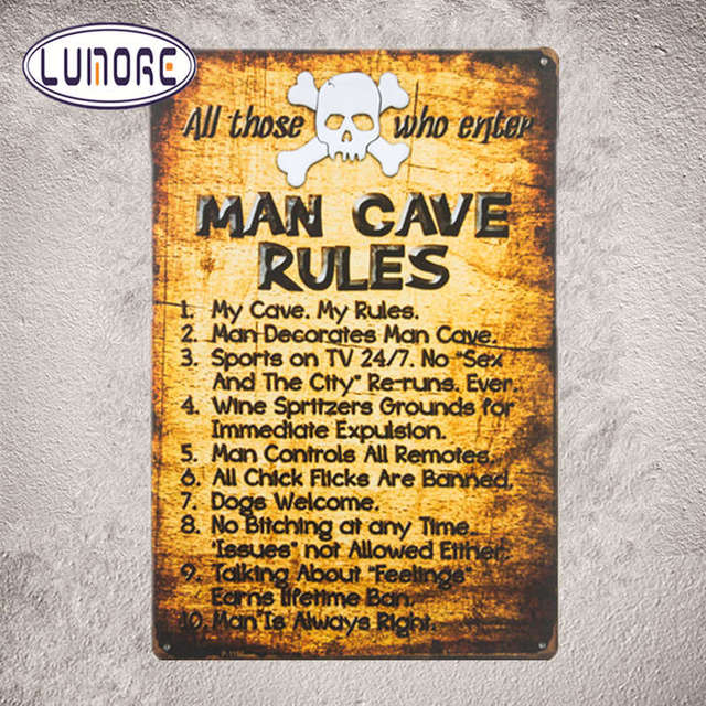 Man Cave Rules Tin Sign Metal Funny Novelty Wall Art Dorm Garage Den ...