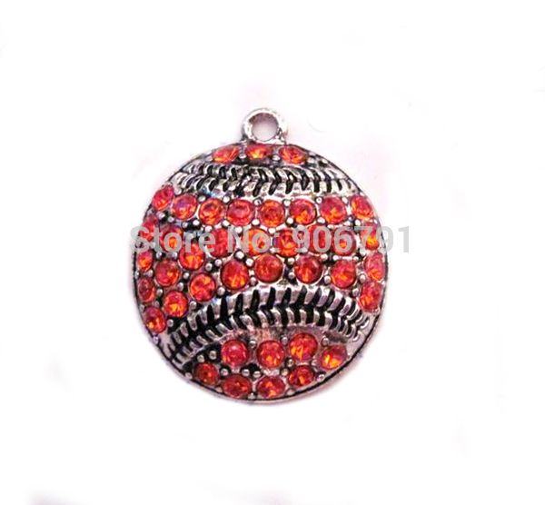100pcs A Lot Antique Silver Color Zinc Studded With Sparkling Baseball Or Softball Orange Crystal Pendant