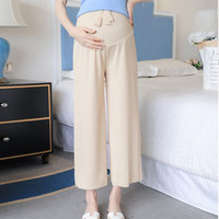 Maternity   Pants New Summer Straight Loose Fashion Wear Outside Nine-point Wide-Leg Pants Casual Prop Belly Pants   Maternity   Wear