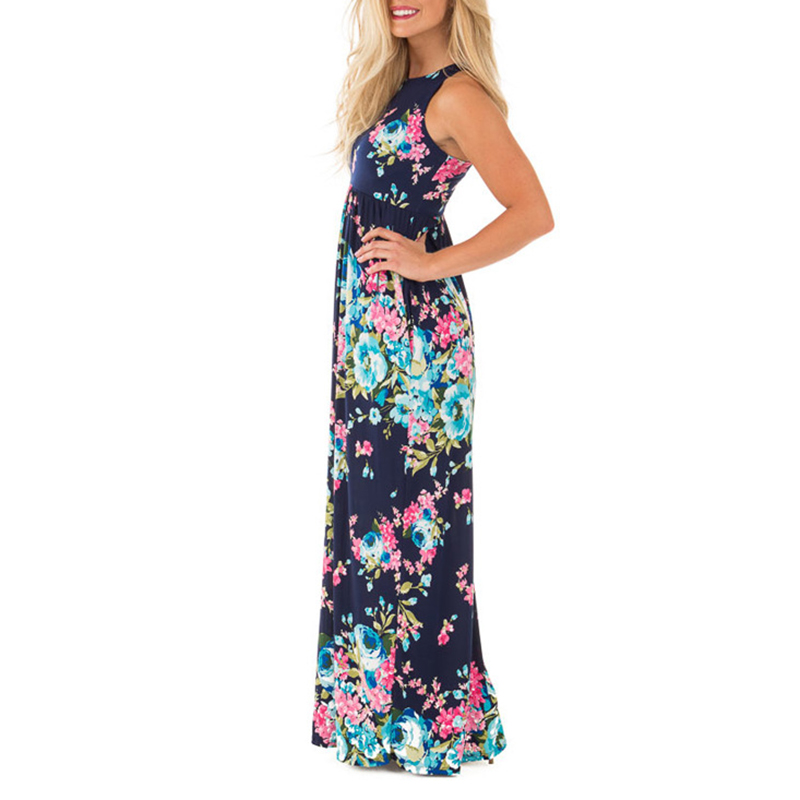 Boho Floral Printed Sundress O-neck Summer Sexy Pleated Maxi Dress 2018 Casual Beachwear Femininos Dress Plus Size LX328