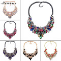 Miwens Multicolor Gems Crystal Maxi Statement Necklaces & Pendants Women Vintage Rhinestone Collar Flower Choker Necklace 6289