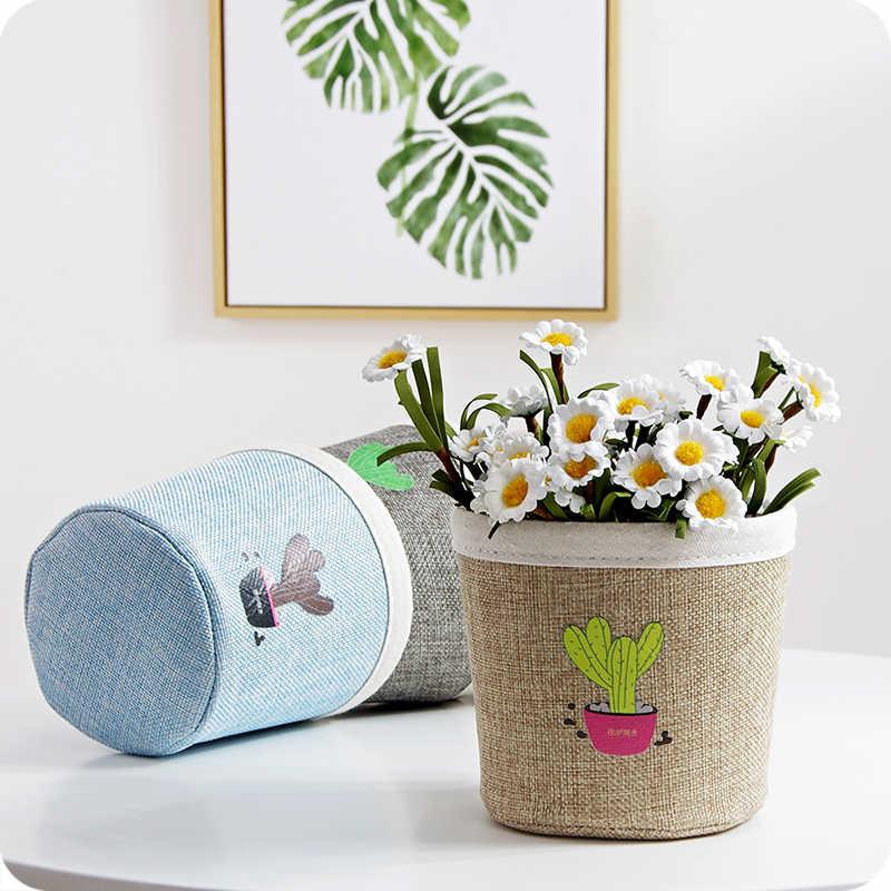 Caixa de Armazenamento de Brinquedo Cesta de armazenamento de Desktop DIY Folding Linen Pastoral Floral Animal Jóias Jóias Maquiagem Papelaria Organizer66664