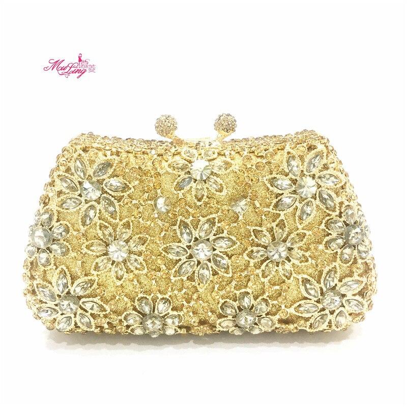 D'or Pochette Partie gold Embrayages Fleur Silver Sac Cadeau Mariage Dame En Clutch Main Jour Bling Cristal Femmes À Luxe De Soirée Sacs Féminin wOqBwtP