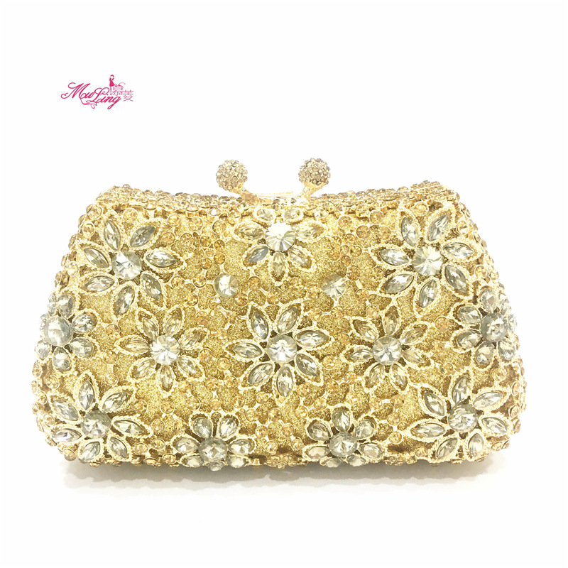 Women Gold Evening Bag Luxury Crystal Bling Clutches Lady Flower Wedding Clutch Bag Party Day Clutch Purses Female Handbag Gift women evening bags red ladies party wallets clutch bag green female gold crystal wedding bridal purses silver day clutches lady