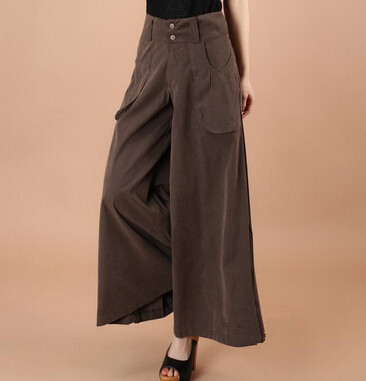 high waist wide leg   pants   plus size women's casual   pants     Capris   Pocket loose Trousers 4XL