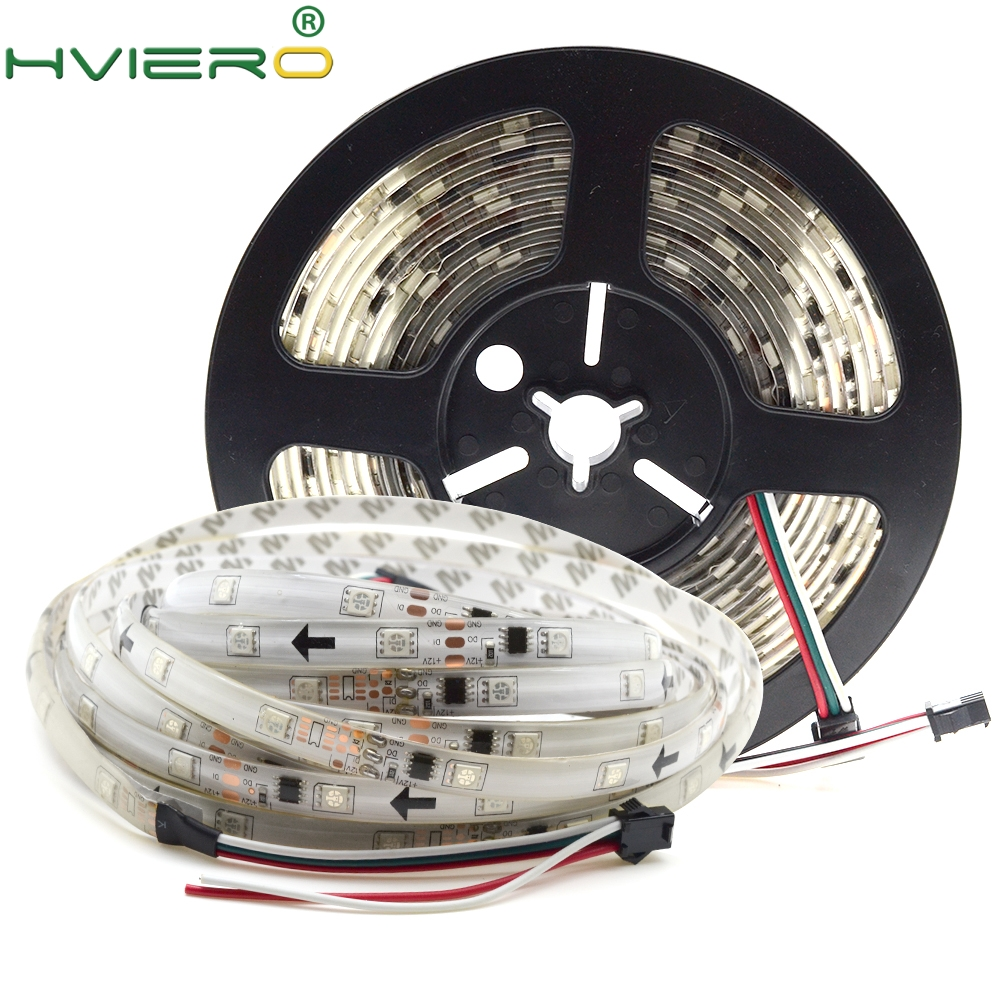 LED Strip Light WS2811 12V 30 LEDs/ M 5m/150LEDs IP65 Waterproof 5050 SMD RGB Auto Change Color Flexible Ribbon Strip Lighting 5m 300pcs 5050 smd leds 72w 2000lm ip65 waterproof highlight decoration black strip lamp warm white light