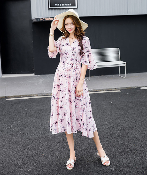 Summer Chiffon Flower Print Elegant Maternity Clothes Horn Sleeves V-neck Pregnancy Women Dress Fashion Belt Maternity Dresses