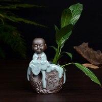 household crafts Zen Buddha floret ware decoration ceramic flower arrangement modern Ge kiln glaze custom wholesale
