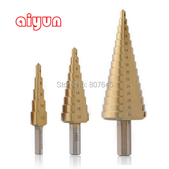 3 pz/set HSS Step Drill Bit Set nucleo drill bit di Titanio Rivestito cono Step Drill Bit Set hole cutter Metrica