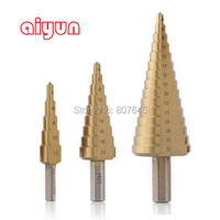3pcs Set HSS Step Drill Bit Set Core Drill Bit Titanium Coated Cone Step Drill Bit