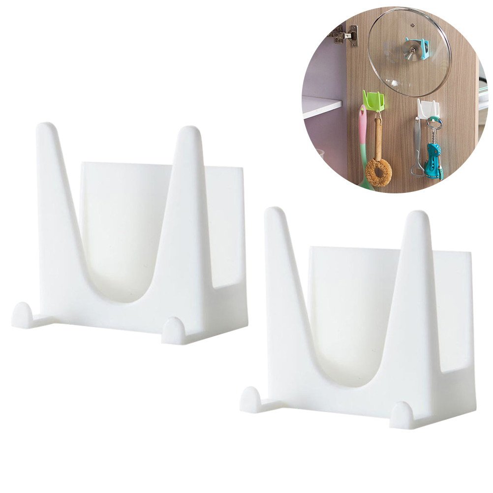 2pcs Wall Mounted Plastic Pan Cover Rack Pot Lid Holder ...