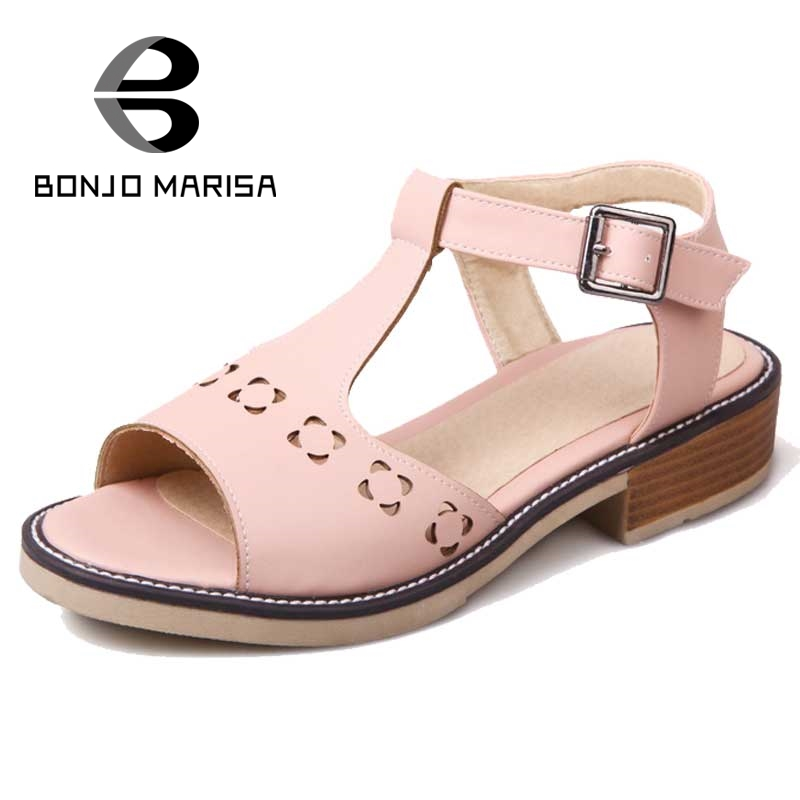 ФОТО BONJOMARISA Brand Women Summer Shoes Woman Cutouts Vintage T-straps Buckle Up Platform Summer Sandals Open Toe Ladies Footwear