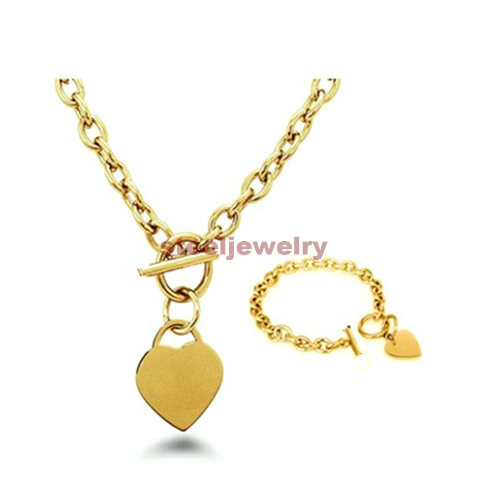 60a411a149f US $11.99 |Hot Selling Women's Fashion Jewelry Set Silver/Gold Stainless  Steel Heart Charm Toggle Necklace Bracelet -in Jewelry Sets from Jewelry &  ...