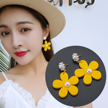 Yellow Flower Simple Pearl Temperament Reticulated Red Ear Nail Earrings Women Spike Brincos Brinco Sale 2019