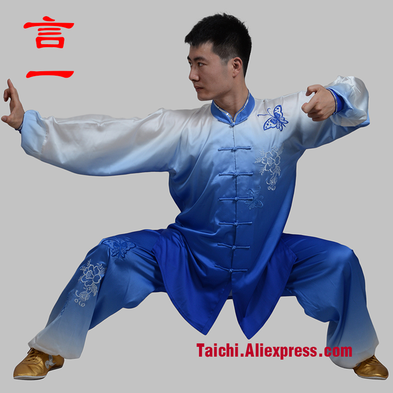 tai chi clothing embroidery blue gradient transition color performance uniform custom-made clothes note your height and weight chi clothing clothes hand painted performance clothing blue and white peony stretch silk female artists painted custom