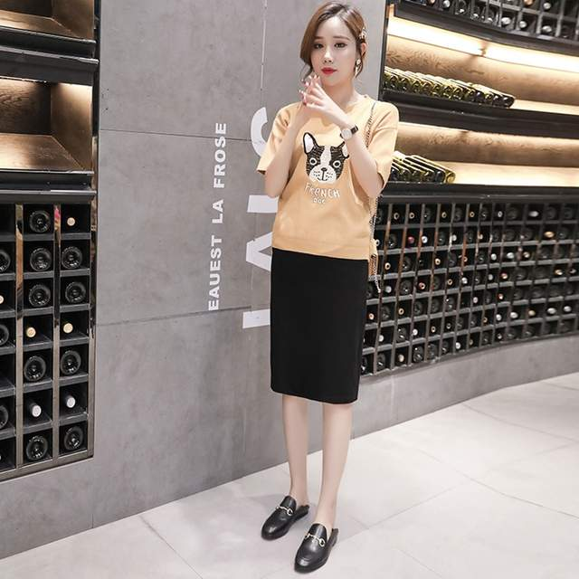 fe6039e4599c0 US $21.98 |Maternity wear summer new pregnant women fashion knit split bag  hip skirt Korean version of the stomach lift skirt-in Skirts from Mother &  ...