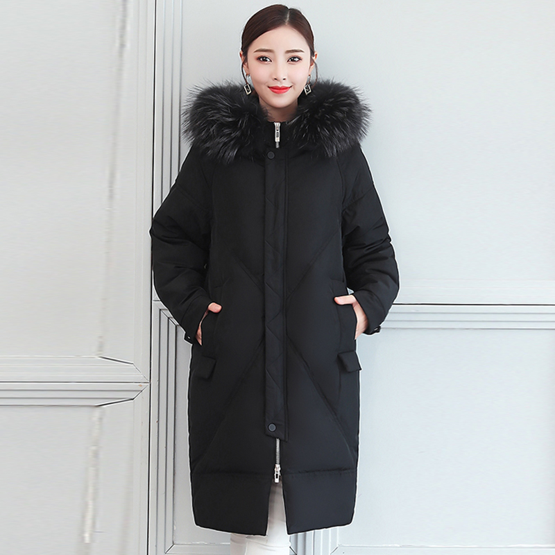 White duck   down     coats   2018 Winter Warm Outwear Winter Long   Coat   Women Hooded Long   Down   Jacket Women's Thick Fashion   Down   Parkas