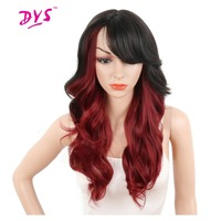 Deyngs Women Body Wave Wig 22inch Long Ombre Wine Red Color Synthetic Hair Wig With Bangs