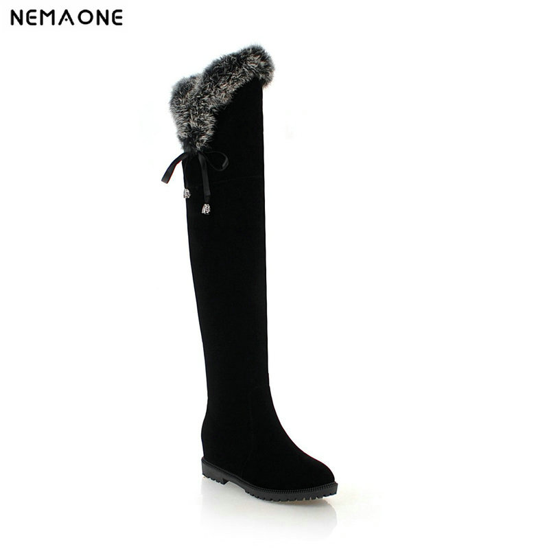 NEMAONE flat over the knee high women snow boots winter warm shoes woman sexy fur Ladies boots black beige large size 43 new sexy women boots winter over the knee high boots party dress boots woman high heels snow boots women shoes large size 34 43