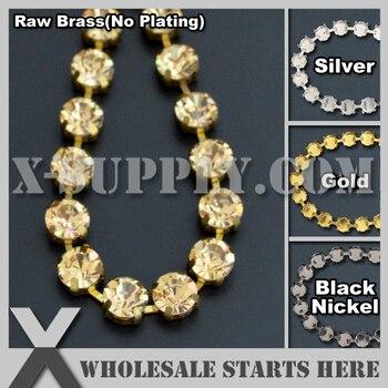 SS45 10mm Handmade Round Rhinestone Cup Chain for Jewelry,DIY,Golden Amber Rhinestones