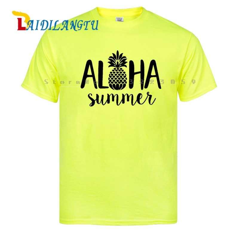 Новый aloha Лето ананас смешной подарок ко дню рождения Мужская футболка с принтом хлопок короткий рукав Футболка