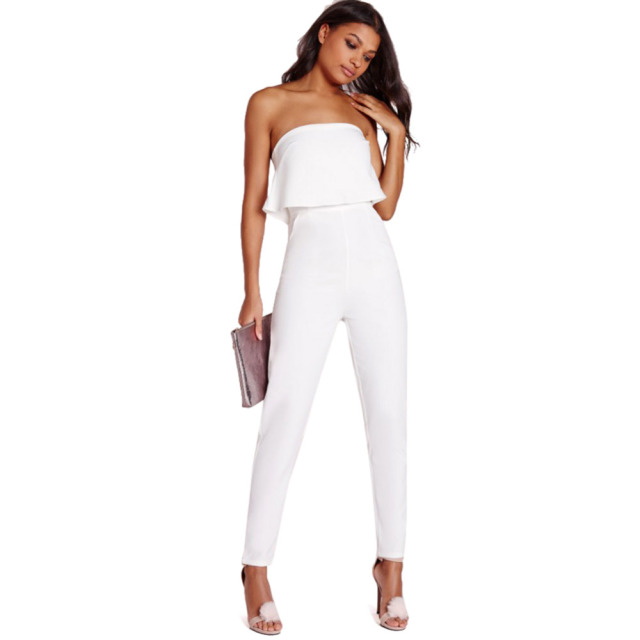 e423e9a89d0 White Rompers Womens Jumpsuits 2016 Strapless Jumpsuit Women Sexy High  Waist Slim Solid Pocket Long Jumpsuits