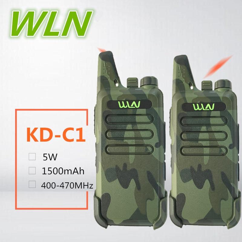 2PCS WLN KD-C1 Mini Walkie Talkie clip  Camuflado 5W UHF Ham radio japan CB Radio Long Range HF Amateur Transceiver USB Charge BAOFENG BF-T1 walkie talkie wln kd-c1