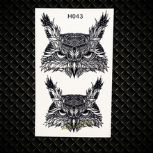 Real Wise Owls Head Temporary Tattoos Women Body ARm Flash Tattoo Black Ink Color GH043 Removable Henna Tattoo Jewelry Stickers