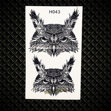 Real Wise Owls Head Temporary Tattoos Women Body ARm Flash Tattoo Black Ink Color GH043 Removable Henna Tattoo Jewelry Stickers(China)