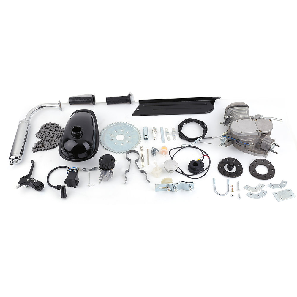 New Professional 2 Stroke 80cc Cycle Motor Engine Kit Gas Great For Motorized Bicycles Cycle Bikes Silver